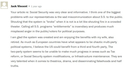 Comments from around the web include the fallacy, including this one on a Pew Research article.