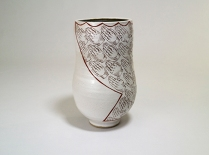 stoneware decorated with decals, oxidation, $150
